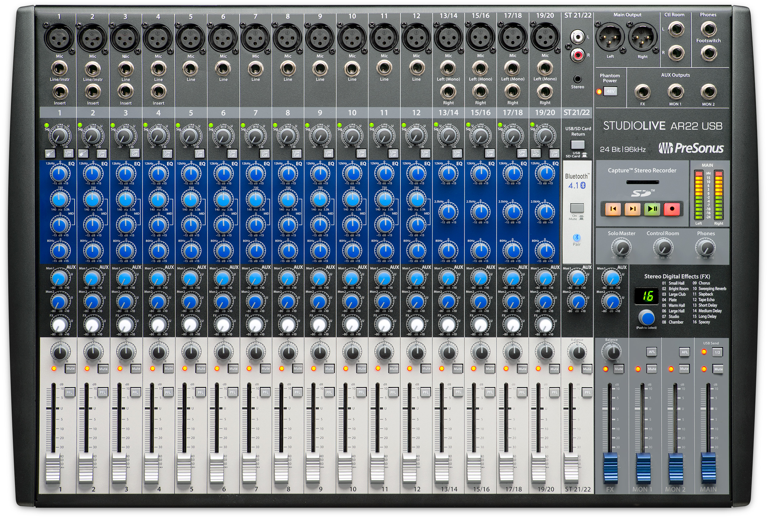Presonus Announces Studiolive Ar22 Usb Hybrid Mixer Press Releases Stereo For Microphone With 2 Channels Each Of The Four Provides A Single Mic Input Plus Balanced Inch Left And Right Line Inputs Basic Three Band Semi Parametric Eq